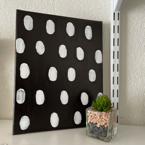 Black&White Polkadot Accent Canvas Painting